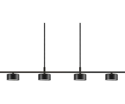 Große LED Pendelleuchte Clyde, Lampenschirm: Metall, beschichtet, Baldachin: Metall, beschichtet, Schwarz, 115 x 210 cm