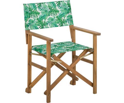 Krzesło reżysera Zoe, Stelaż: drewno akacjowe, olejowan, Zielony, biały, S 59 x G 91 cm