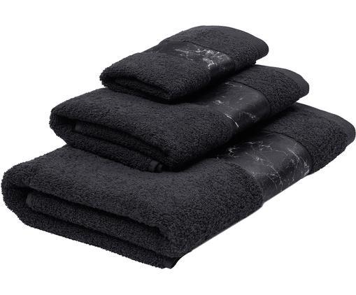 Lot de serviettes de bain à bande aspect marbre Malin, 3élém., Noir