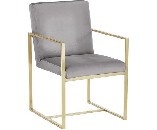 Krzesło z podłokietnikami z aksamitu Manhattan, Tapicerka: aksamit (poliester), Stelaż: metal powlekany, Szary, S 54 x G 66 cm