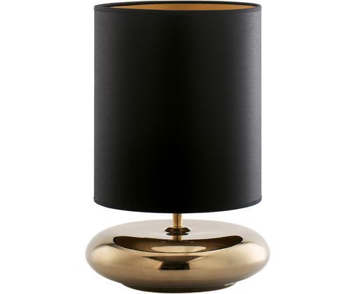 Keramik-Tischleuchte Steady, Lampenschirm: Polyester, Lampenfuß: Keramik, Schwarz, Goldfarben, Ø 28 x H 42 cm
