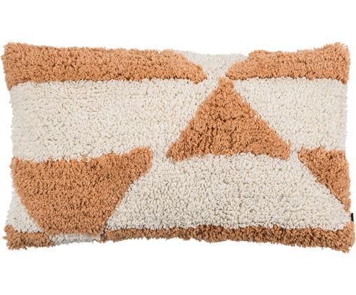 Flauschige Kissenhülle Power mit getufteter Oberfläche, 100% Baumwolle, Orange, gebrochenes Weiß, 30 x 50 cm