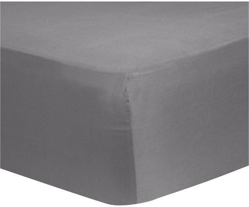 Lenzuolo con angoli in raso di cotone Comfort, Grigio scuro, Larg. 200 x Lung. 200 cm