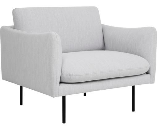 Sessel Moby, Bezug: Polyester 60.000 Scheuert, Gestell: Massives Kiefernholz, Füße: Metall, pulverbeschichtet, Webstoff Hellgrau, B 90 x T 90 cm