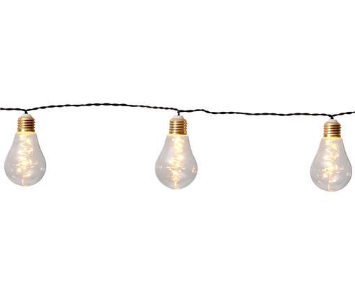 Guirlande lumineuse à LED Bulb, 360cm, Ampoules: transparent, couleur dorée Câble: noir