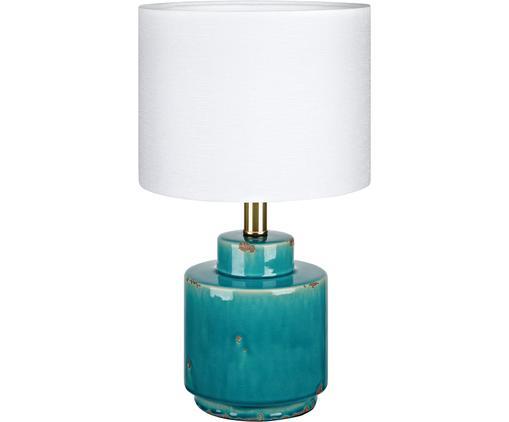 Lampada da tavolo Cous, Paralume: poliestere, Base della lampada: ceramica con finitura ant, Paralume: bianco  base della lampada: blu con finitura antica, Ø 24 x Alt. 42 cm