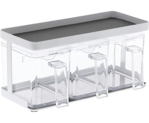 Portaspezie Tower, Contenitore: materiale sintetico, Bianco trasparente, Larg. 28 x Alt. 14 cm