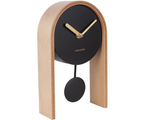 Orologio da tavolo Smart, Legno, Nero, marrone, dorato, Larg. 15 x Alt. 25 cm