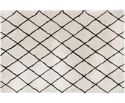 Alfombra artesanal Naima, Parte superior: 100%poliéster, Reverso: 100%algodón, Beige, negro, An 300 x L 400 cm (Tamaño XL)