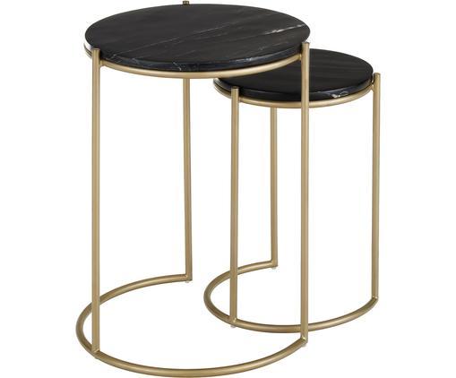 Set 2 tavolini in marmo Ella, Ripiani: pietra naturale di marmo, Struttura: metallo verniciato a polv, Piani d'appoggio: marmo nero Struttura: dorato opaco, Diverse dimensioni