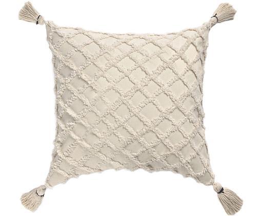 Kissenhülle Royal mit Hoch-Tief-Muster, Baumwolle, Gebrochenes Weiß, 45 x 45 cm