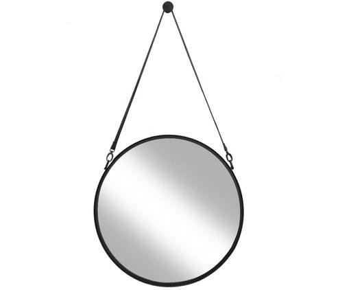 Miroir mural rond avec lanière en cuir noir Liz, Noir