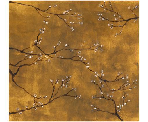 Carta da parati Chinese Spring, Tessuto non tessuto, Giallo- e brunastro, bianco, nero, Larg. 300 x Alt. 280 cm