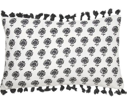 Kissenhülle Poesy mit Quasten, 100% Baumwolle, Weiß, Schwarz, 30 x 50 cm