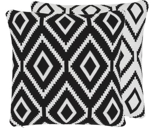 Strick-Wendekissenhülle Chuck mit grafischem Muster in Schwarz/Weiß, Baumwolle, Schwarz, Cremeweiß, 40 x 40 cm