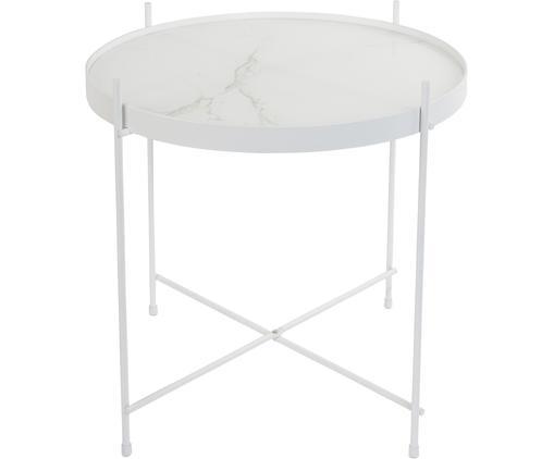 Tavolino-vassoio con piano in vetro Cupid, Struttura: ferro verniciato a polver, Piano d'appoggio: piano in vetro laminato c, Bianco, Ø 43 x Alt. 45 cm