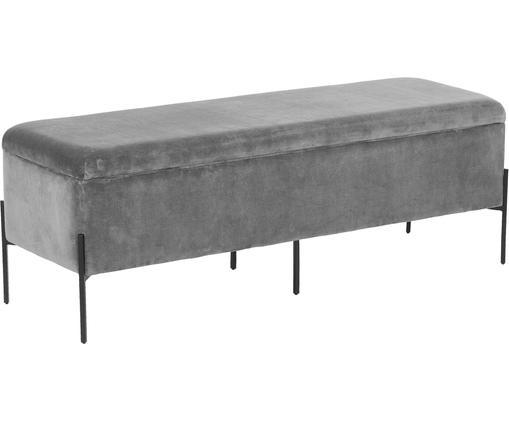 Panca in velluto Harper con contenitore, Rivestimento: velluto 20.000 cicli di s, Rivestimento: grigio chiaro Base: nero opaco, Larg. 140 x Alt. 45 cm