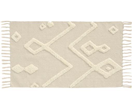 Alfombra texturizada Canvas, Algodón, Blanco crudo, An 60 x L 90 cm (Tamaño XXS)
