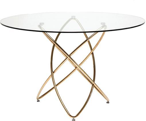 Stół do jadalni Molekular, Blat: transparentny Nogi: odcienie złotego