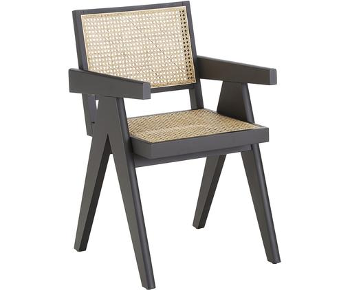 Silla con reposabrazos Sissi, Estructura: madera de haya maciza pin, Asiento: ratán, Estructura: haya Asiento: beige, An 52 x F 58 cm