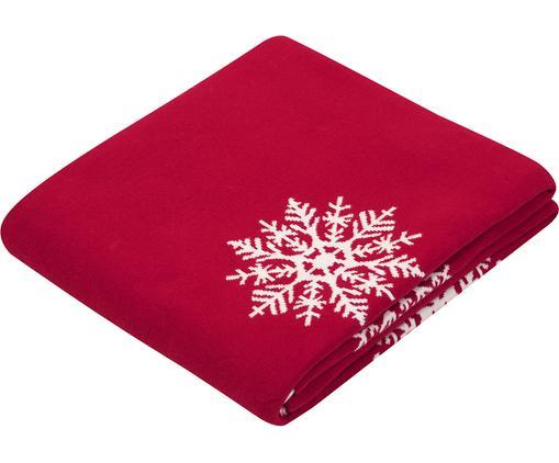 Wendeplaid Snowflake in Rot/Weiß, 100% Baumwolle, Rot, Cremeweiß, 150 x 200 cm