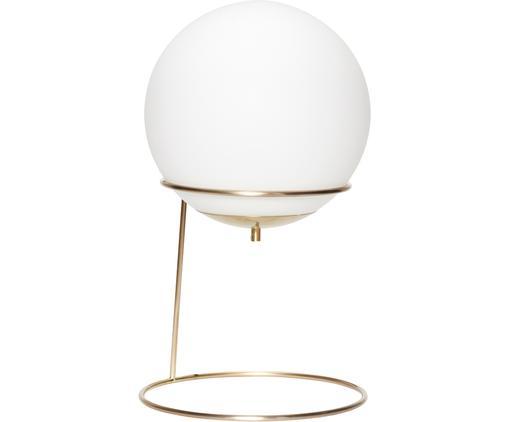 Tischleuchte Daria aus Opalglas, Lampenschirm: Opalglas, Lampenfuß: Metall, beschichtet, Weiß, Messingfarben, Ø 30 x H 53 cm