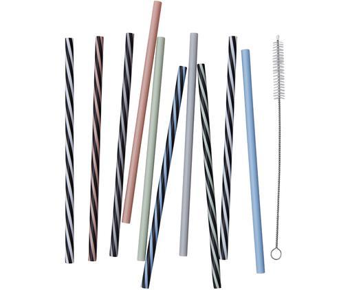 Strohhalm-Set Multi, 11-tlg., Rostfreier Stahl, Nylon, Mehrfarbig, L 19 cm