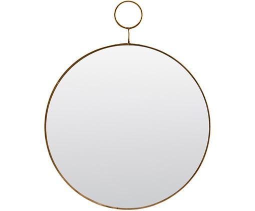 Lustro ścienne Loop, Krawędź: odcienie mosiądzu Lustro: szkło lustrzane, Ø 32 cm
