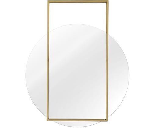 Runder Wandspiegel Ashley mit eckigem Rahmen, Rahmen: Metall, vernickelt, Spiegelfläche: Spiegelglas, Rückseite: Mitteldichte Holzfaserpla, Goldfarben, matt, 81 x 100 cm