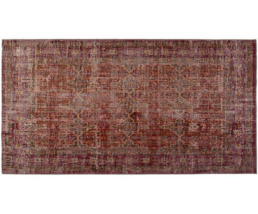 Vintage In- und Outdoorteppich Tilas Izmir in Dunkelrot, Dunkelrot, Senfgelb, Khaki, B 80 x L 150 cm (Größe XS)