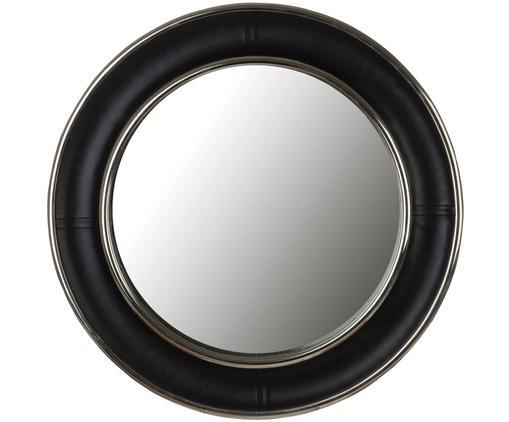 Wandspiegel Churchill, Rahmen: , Beschichtung: Leder, Spiegelfläche: Spiegelglas, Schwarz, Ø 45 cm