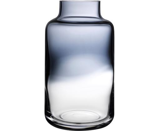 Handgefertigte Glas-Vase Magnolia, Glas, Blau, transparent, Ø 18 x H 32 cm