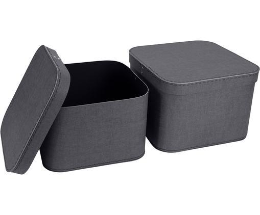 Set 2 scatole Ludvig, Solido, cartone laminato, Antracite, Diverse dimensioni
