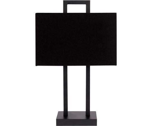 Tafellamp Annelie, Lampvoet: metaal, Lampenkap: textiel, Frame: zwart. Lampenkap: zwart, 28 x 45 cm