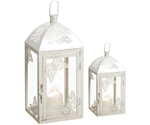 Set lanterne Peer, 2 pz., Metallo verniciato a polvere, vetro, Bianco, effetto vintage, Diverse dimensioni