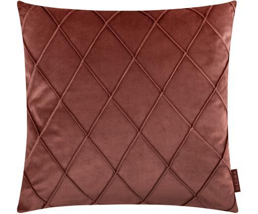 Federa arredo in velluto con motivo a rombi Nobless, Velluto di poliestere, Rosso terracotta, Larg. 50 x Lung. 50 cm