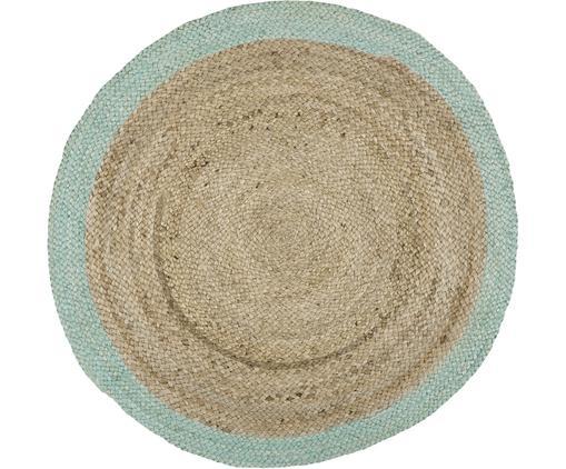 Tappeto rotondo in juta fatto a mano Shanta, Retro: juta, Juta, verde menta, Ø 100 cm (taglia XS)