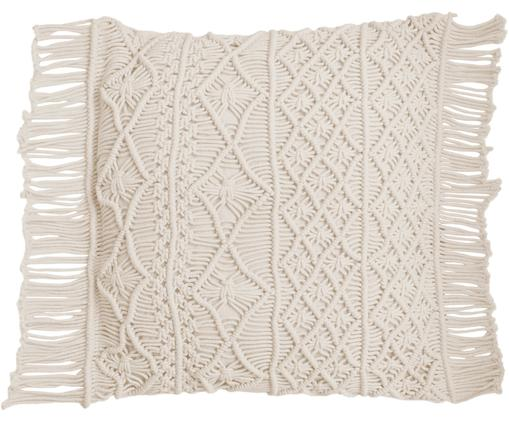 Makramee-Bodenkissen Anna im Boho-Style mit Fransen, Bezug: Baumwolle, Webart: Macramé, Beige, 60 x 60 cm