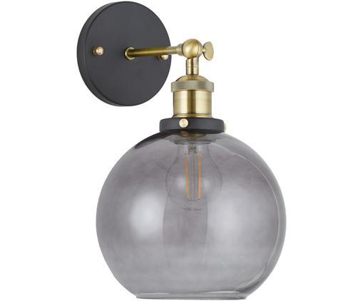 Lampada da parete New York Loft No.2, Baldacchino: metallo verniciato a polv, Paralume: vetro, Nero, ottone, grigio, Larg. 20 x Alt. 30 cm