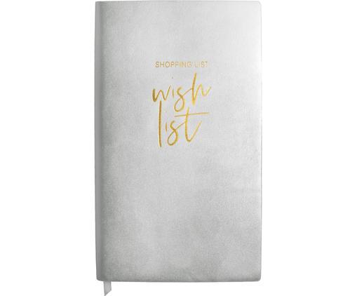 Notizbuch Wish List, Kunststoff (Polyurethan), Papier, Silberfarben, Goldfarben, 12 x 21 cm