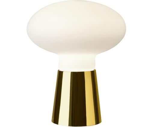 Tischleuchte Bilbao asu Opalglas, Lampenschirm: Opalglas, Lampenfuß: Metall, lackiert, Messingfarben, Weiß, Ø 35 x H 42 cm