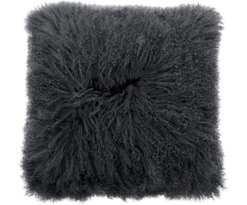 Langhaar-Lammfell Kissenhülle Ella, gelockt, Vorderseite: 100% mongolisches Lammfel, Rückseite: 100% Polyester, Dunkelgrau, 40 x 40 cm