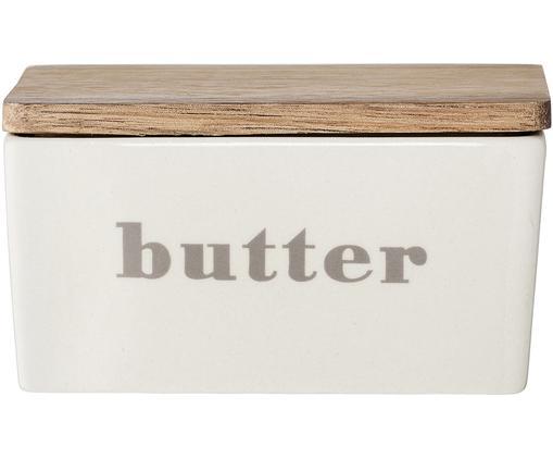 Maselniczka Bamboo, Pojemnik: złamana biel , beżowy  Pokrywka: drewno bambusowe, S 13 x W 7 cm