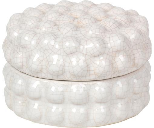 Pojemnik do przechowywania Dotty, Ceramika szkliwiona, Kość słoniowa, Ø 12 x W 8 cm