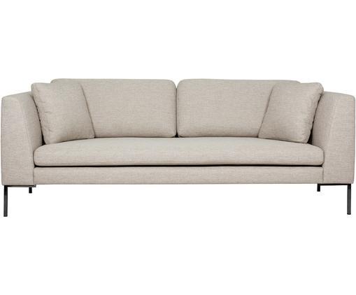 Sofa Emma (3-Sitzer), Bezug: Polyester 100.000 Scheuer, Gestell: Massives Kiefernholz, Füße: Metall, pulverbeschichtet, Webstoff Beige, Füße Schwarz, B 227 x T 100 cm