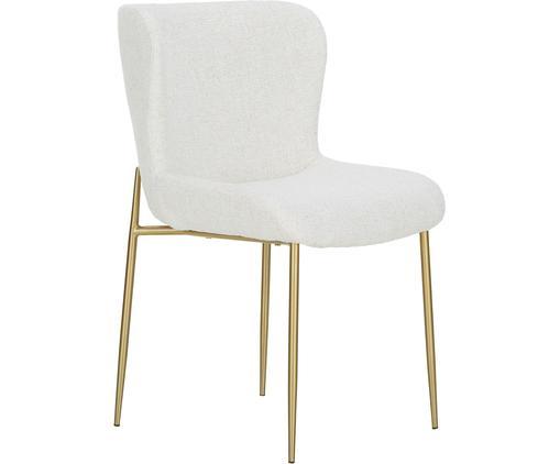 Chaise en tissu bouclé rembourrée Tess, En tissu bouclé blanc crème, pieds or