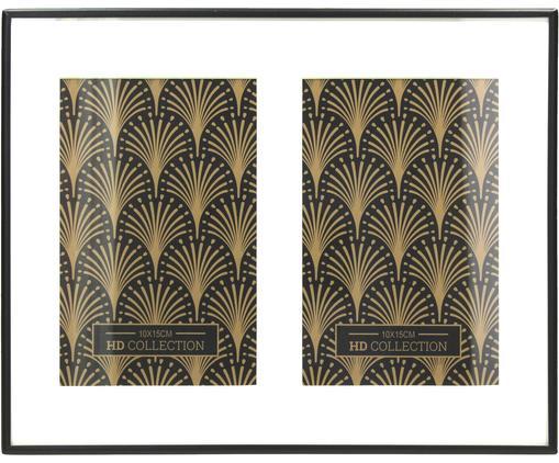 Bilderrahmen Gatsby Two, Schwarz, Rahmen: Metall, beschichtet, Front: Glas, Rückseite: Mitteldichte Holzfaserpla, Schwarz, 10 x 15 cm