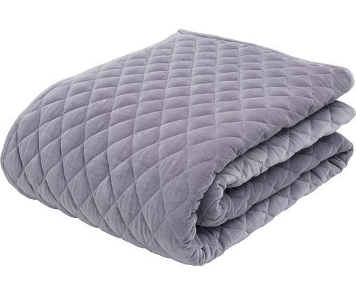 Wattierte Samt-Tagesdecke Cosima, Vorderseite: Baumwollsamt, Rückseite: Baumwolle, Grau-Lila, 160 x 220 cm