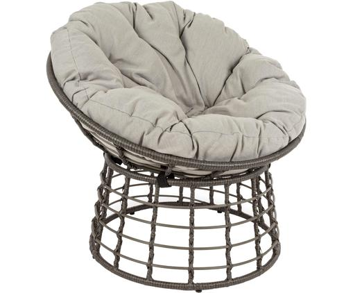 Outdoor fauteuil Molly, Frame: gepoedercoat staal, Zitvlak: synthetische vezels, Bekleding: polyester, Grijs, lichtgrijs, Ø 92 x H 78 cm