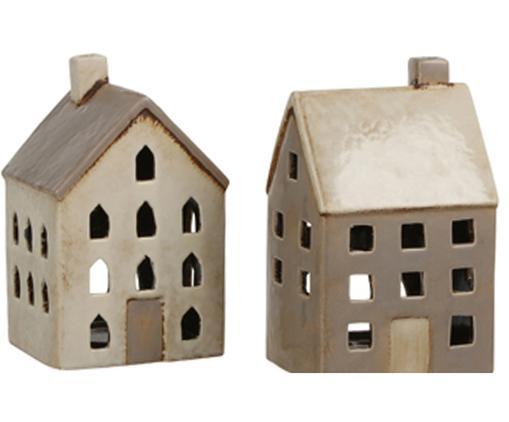 Windlichter-Set Houses, 2-tlg., Keramik, Beige, Taupe, 10 x 20 cm